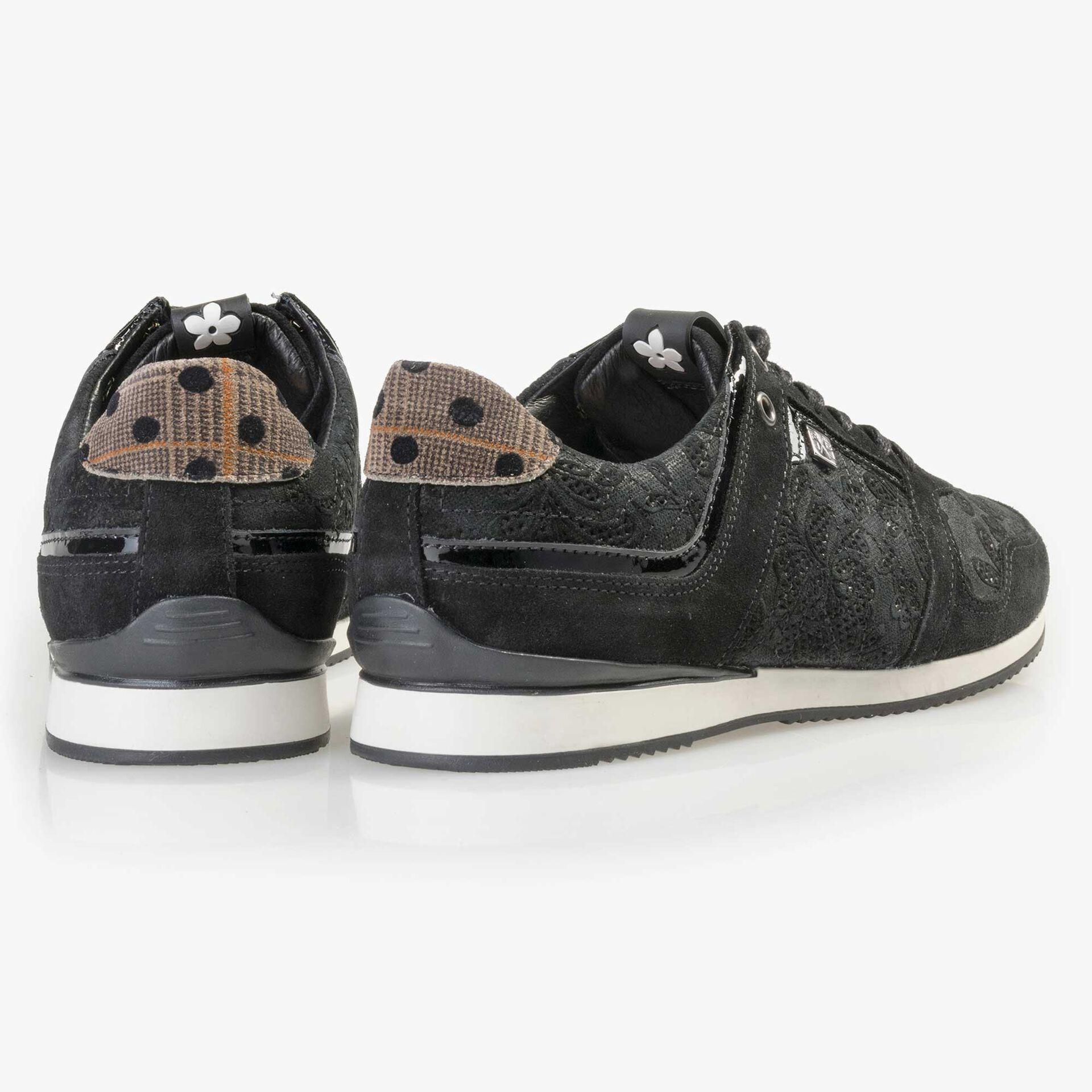 Floris van Bommel zwarte suède dames sneaker