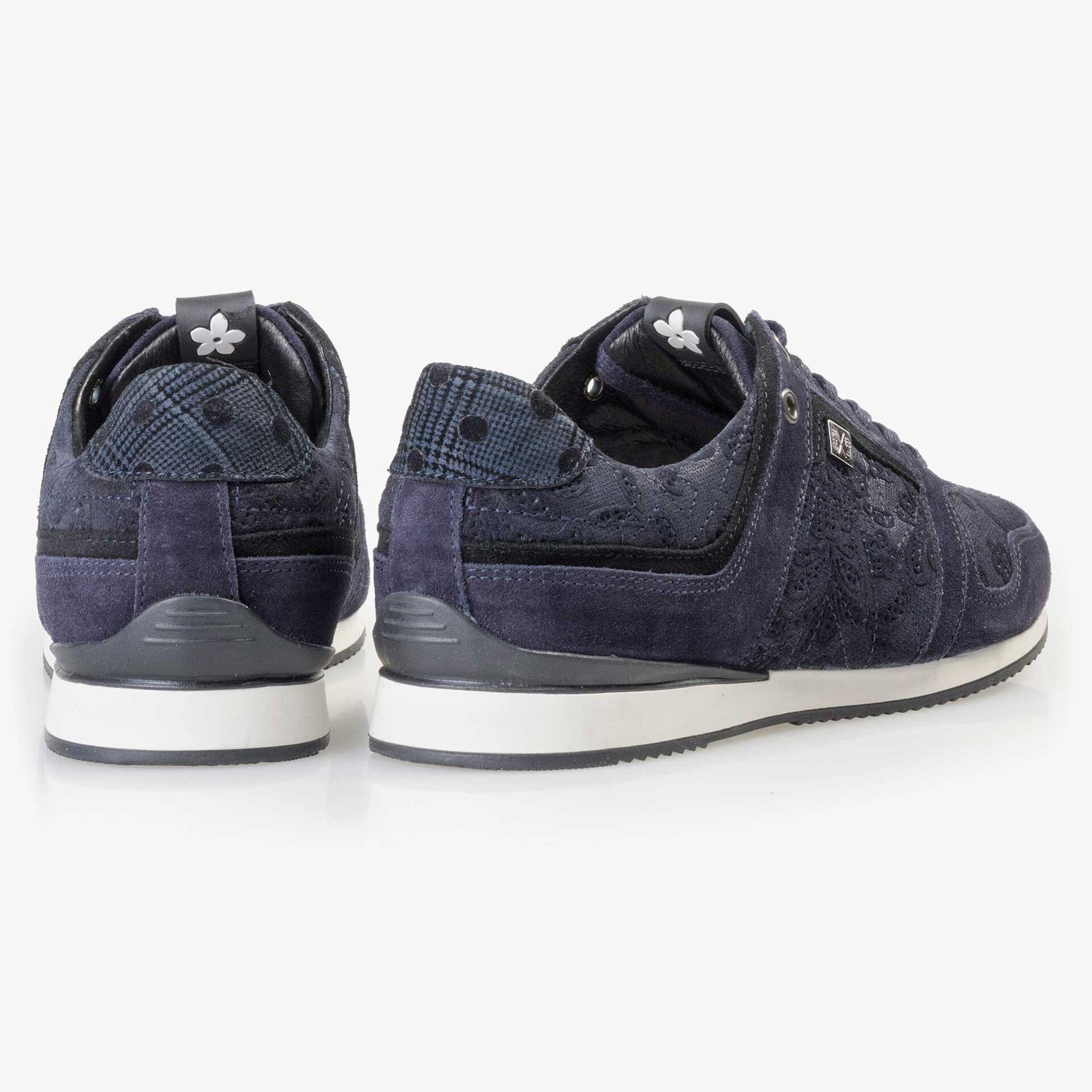 Floris van Bommel blauwe suède dames sneaker