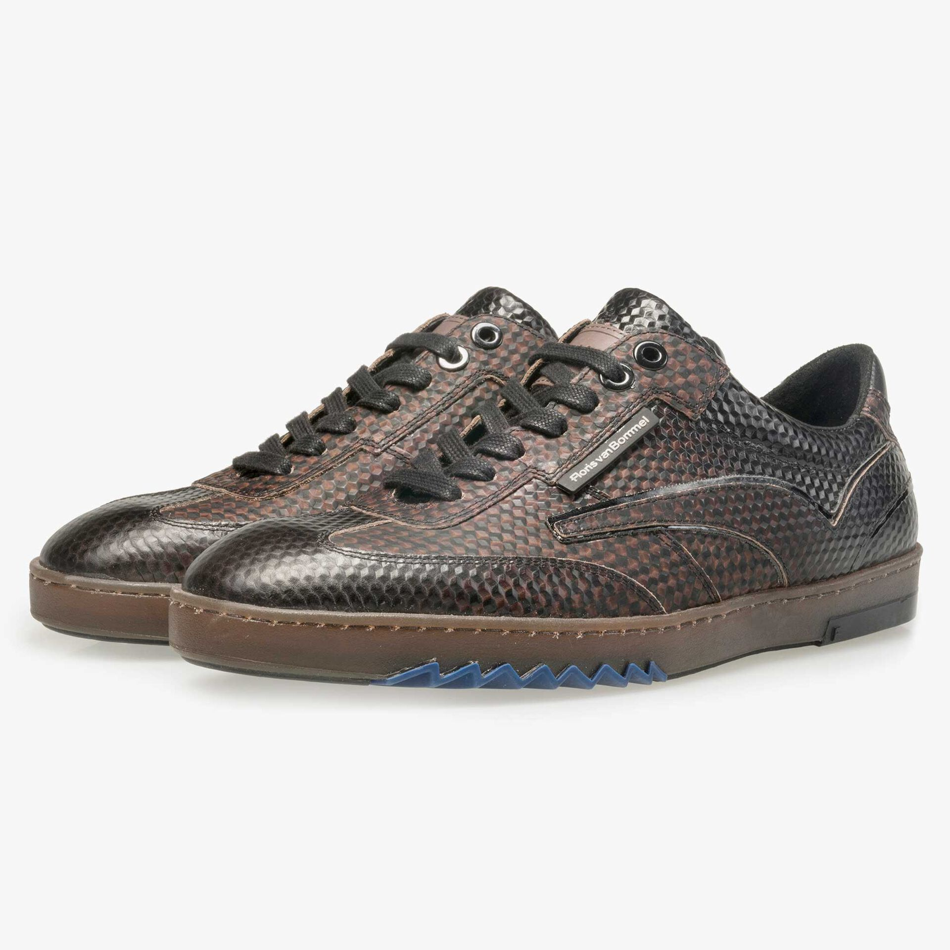 Floris van Bommel men's dark brown sneaker finished with a black print