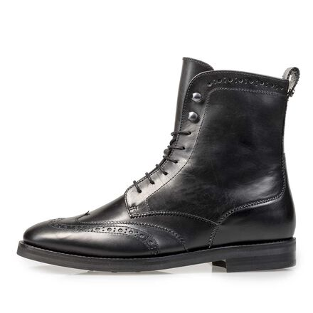 Calf leather biker lace boot