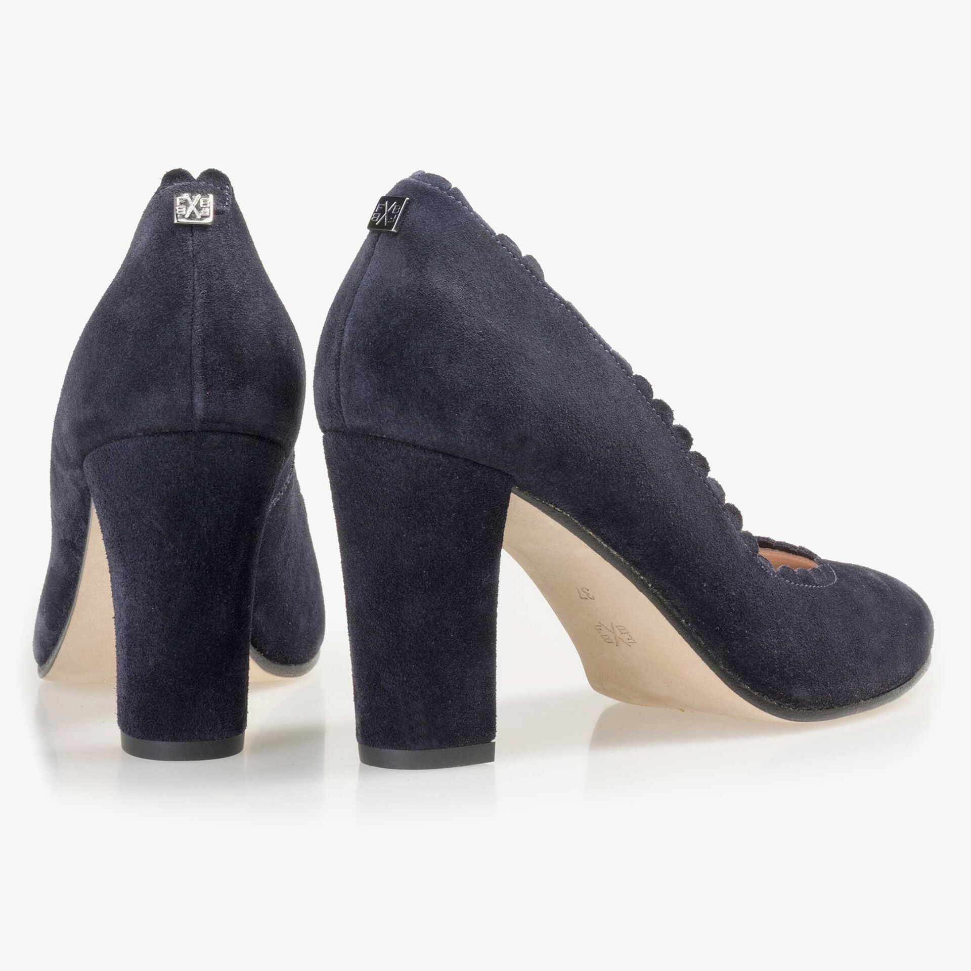 Floris van Bommel dark blue suede leather pumps