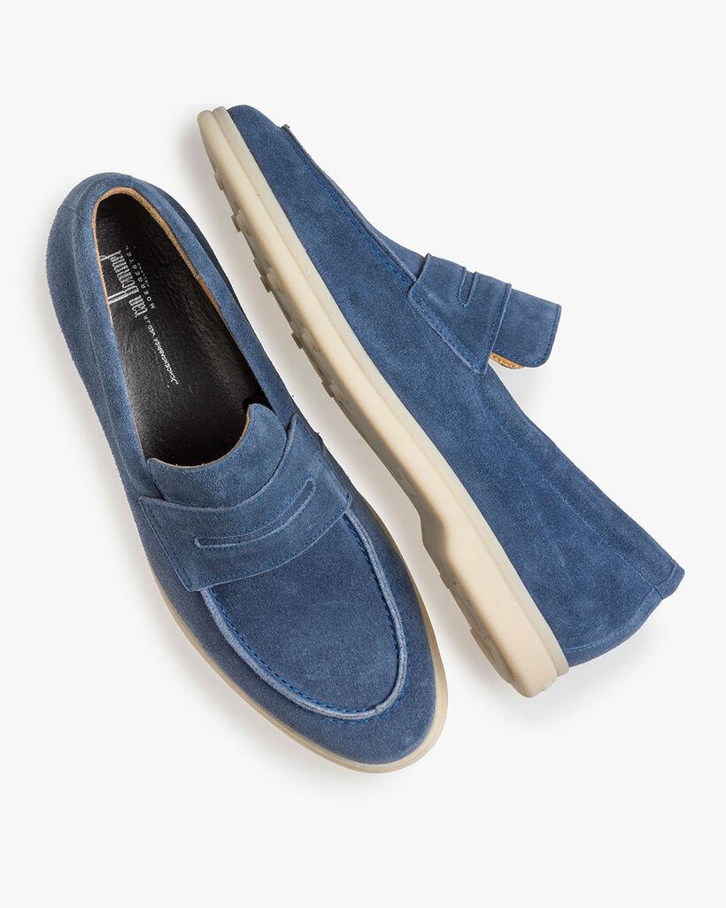 Blauwe suède loafer