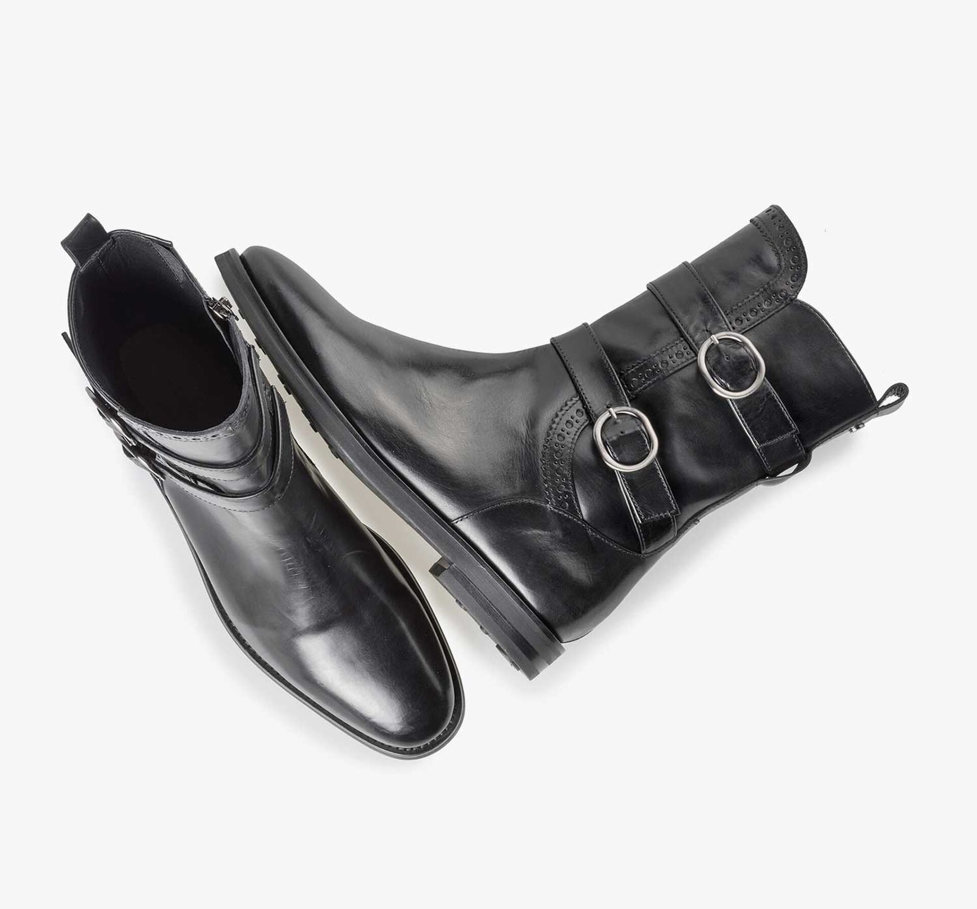 Black calf leather buckle boot