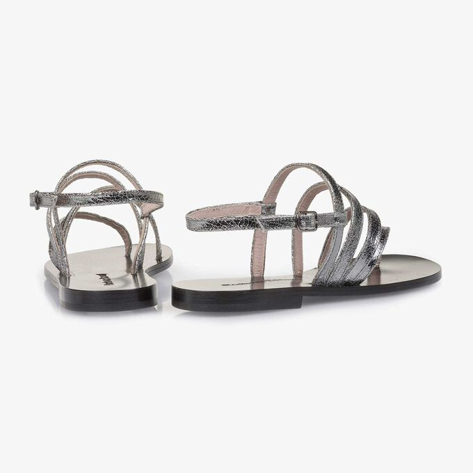 Silver metallic leather sandal with craquelé effect