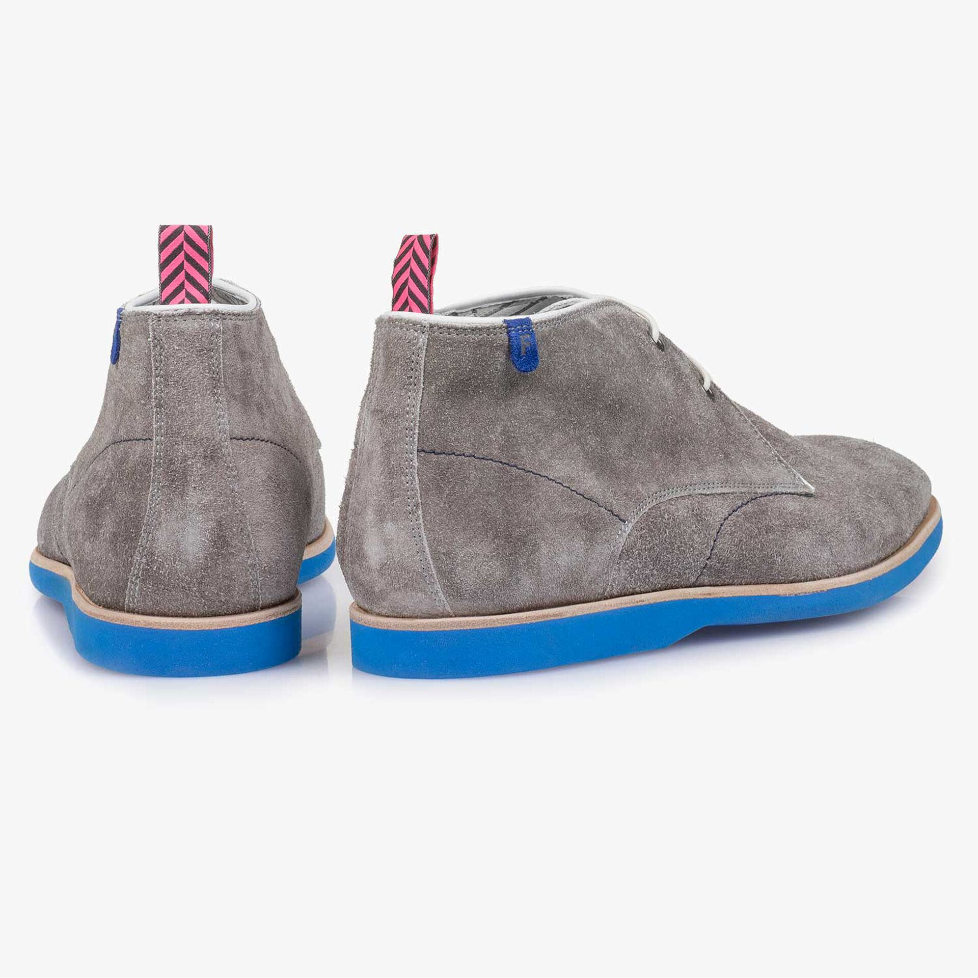 Grey rough suede leather lace boot