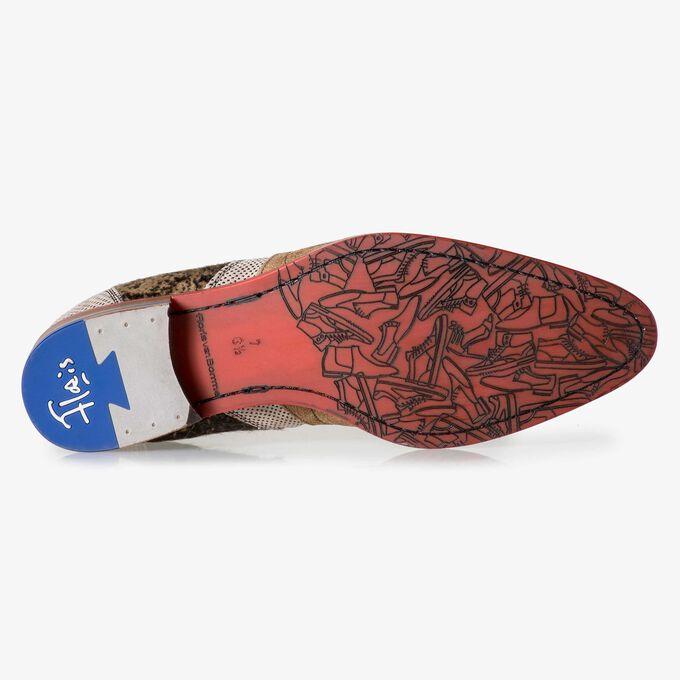 Bruine suède chelsea boot met ponyhair