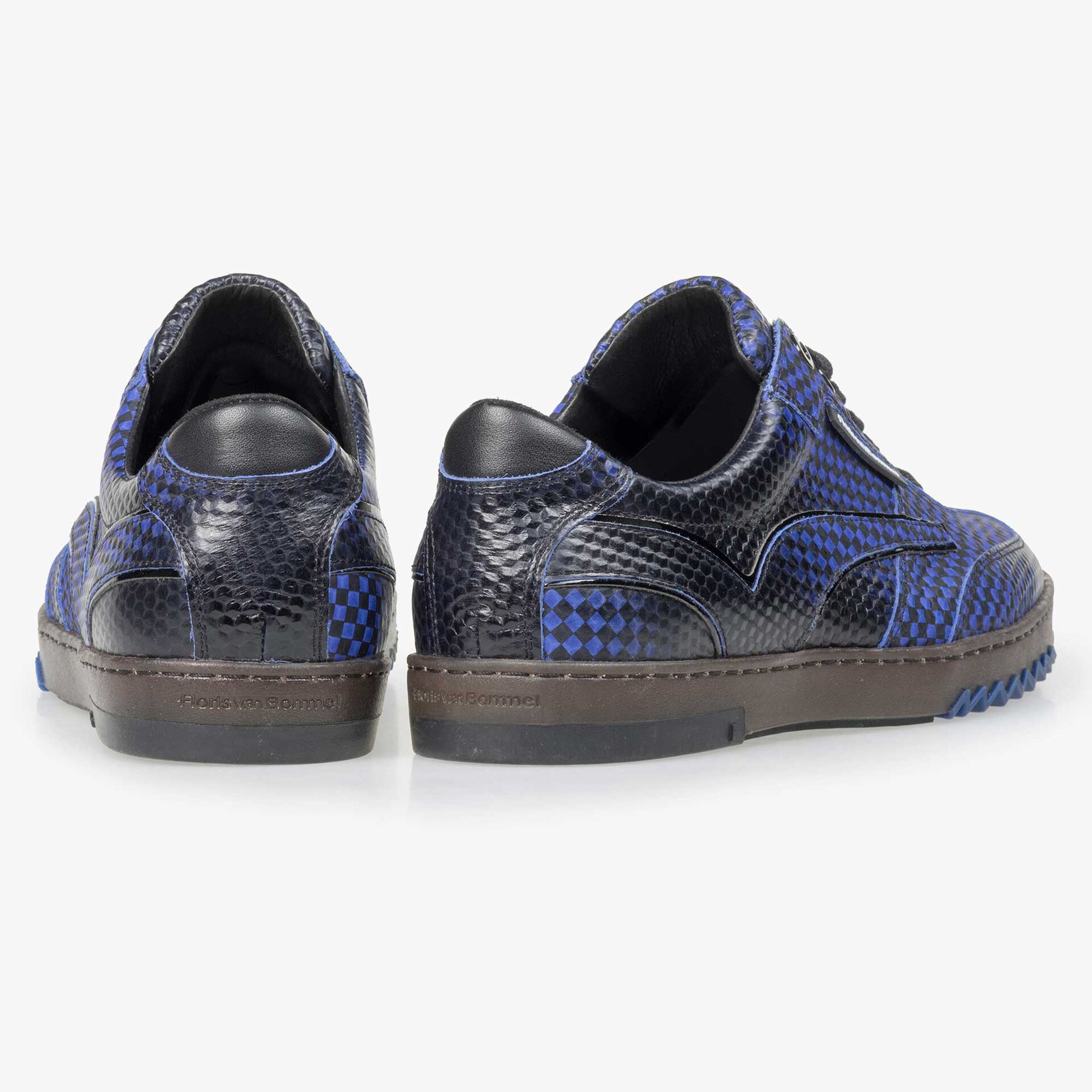 Floris van Bommel felblauwe print heren sneaker