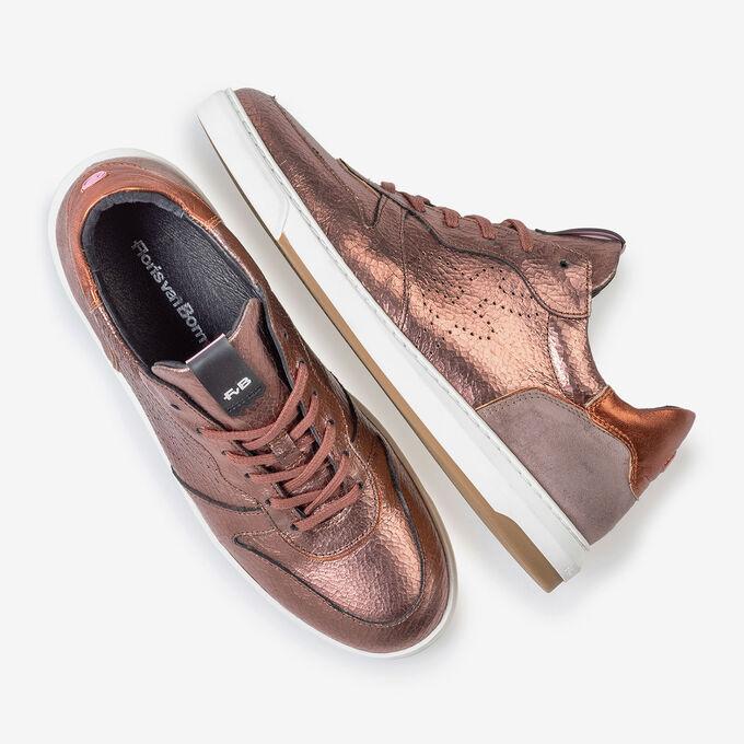 Sneaker craquelé leer roze