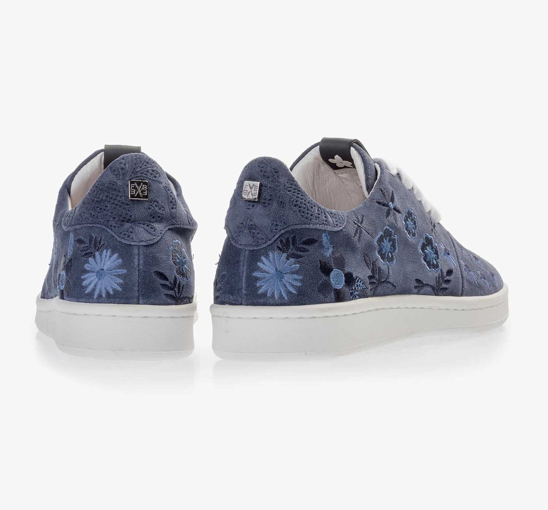 Dark blue suede leather sneaker with floral embroidery stitching