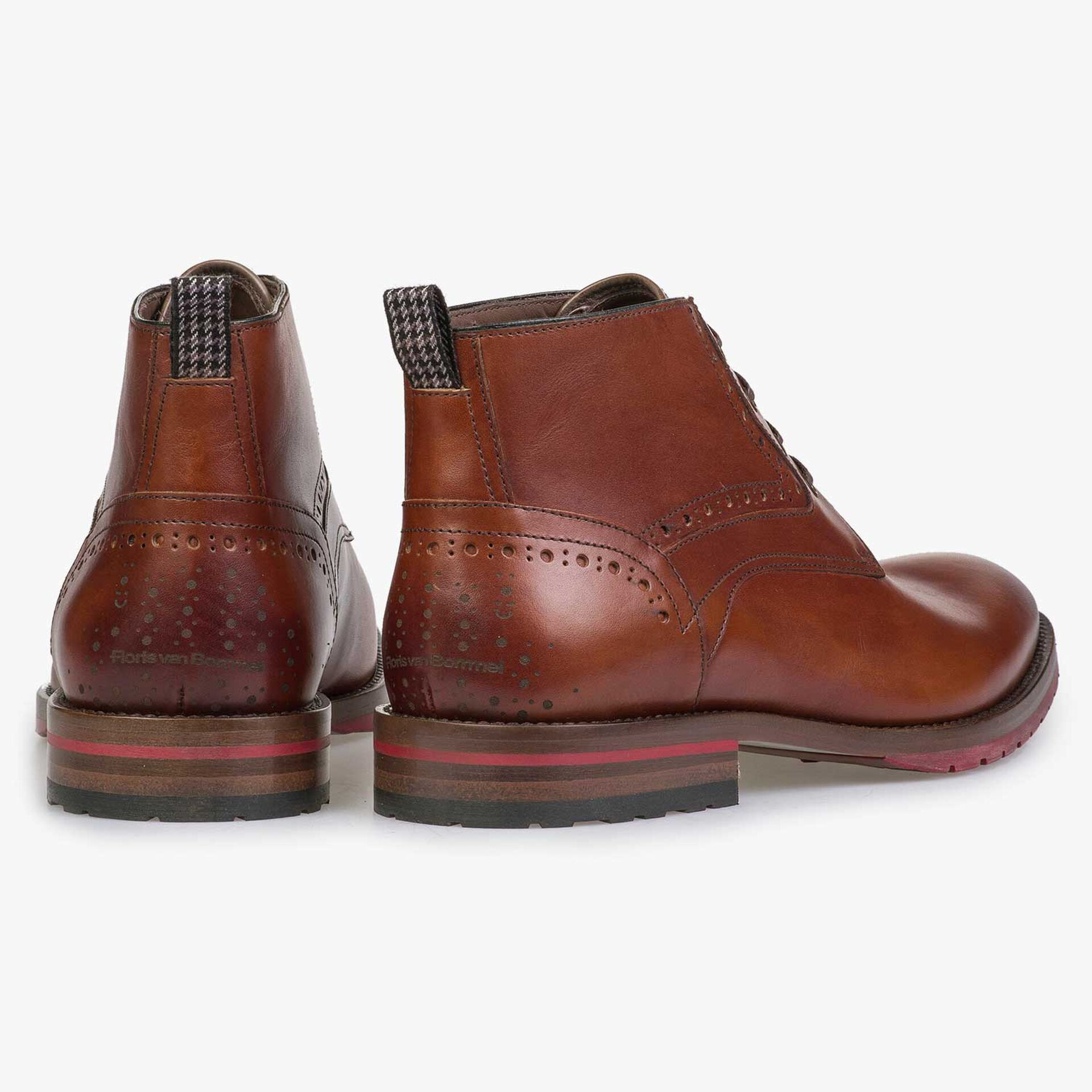 Cognac-coloured leather lace boot