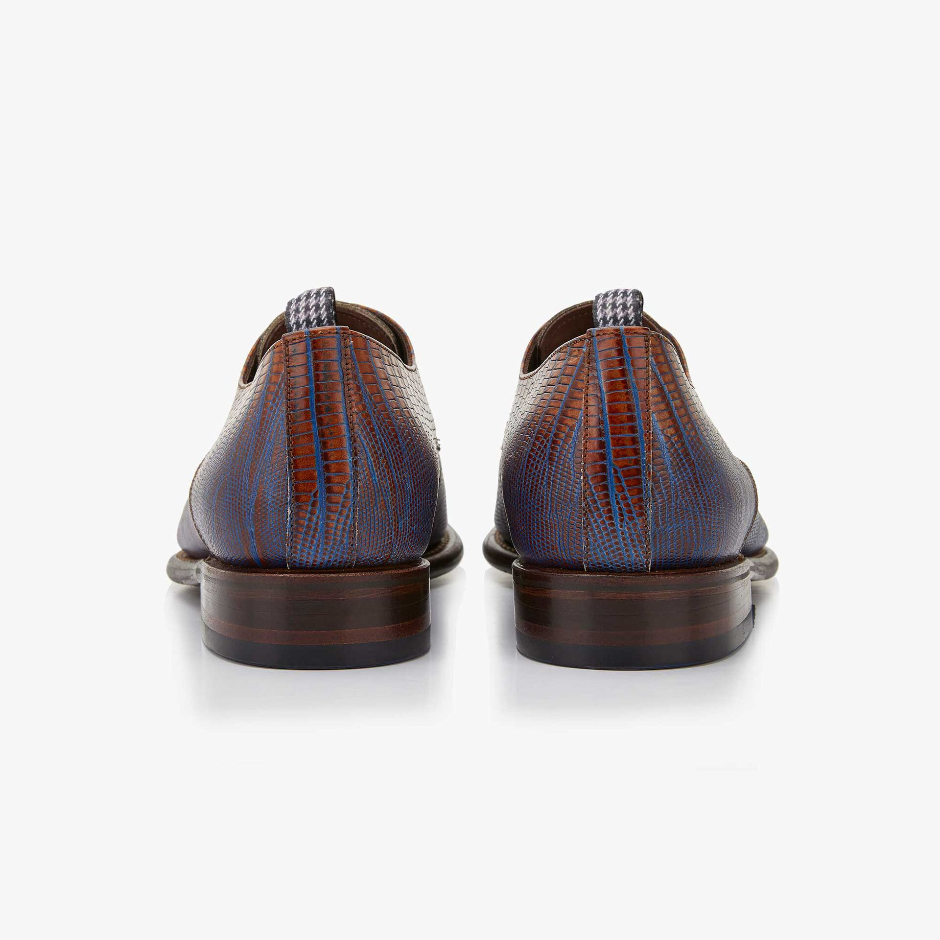Floris van Bommel men's cognac-coloured leather lace shoe finished with a lizard print