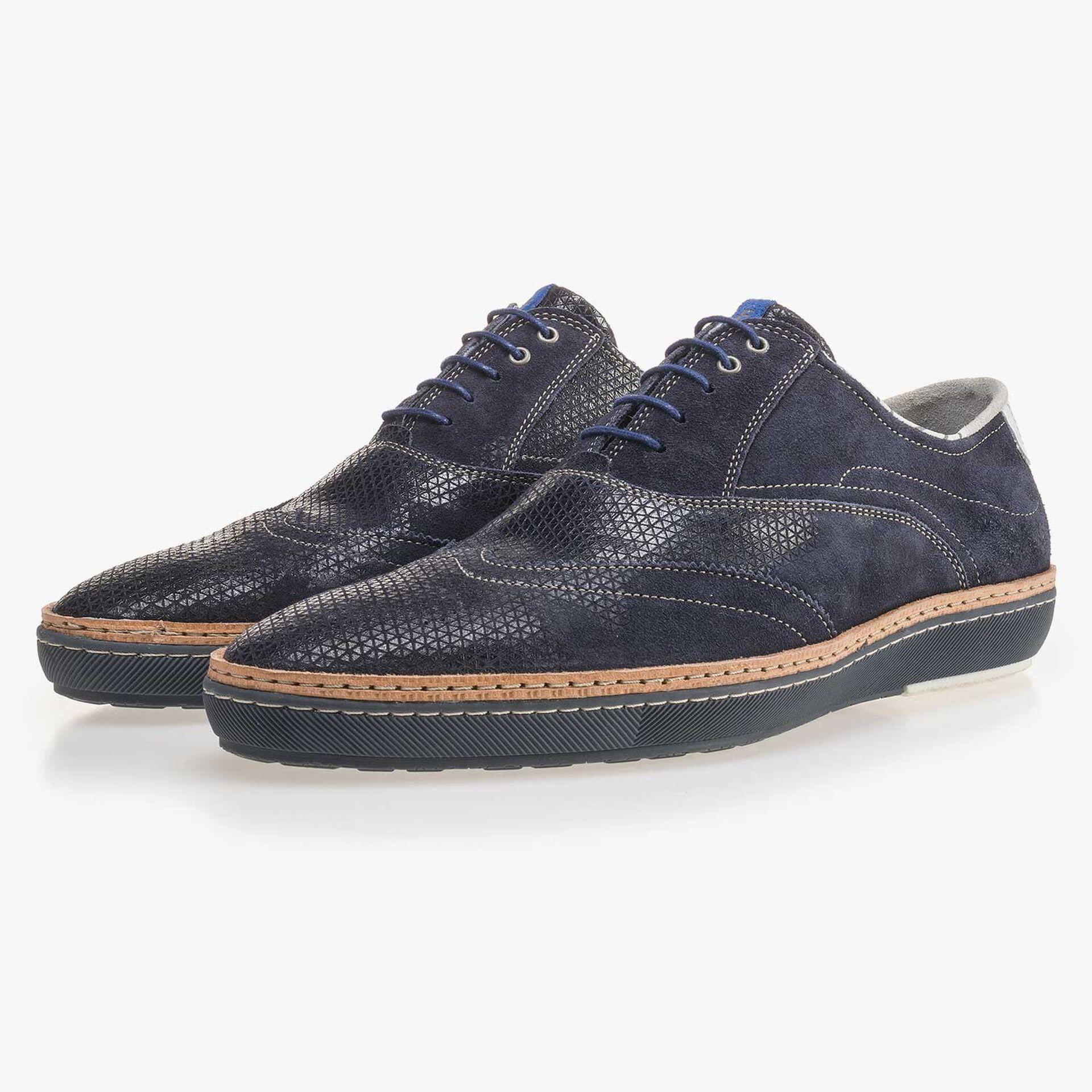 Donkerblauwe suède brogue sneaker