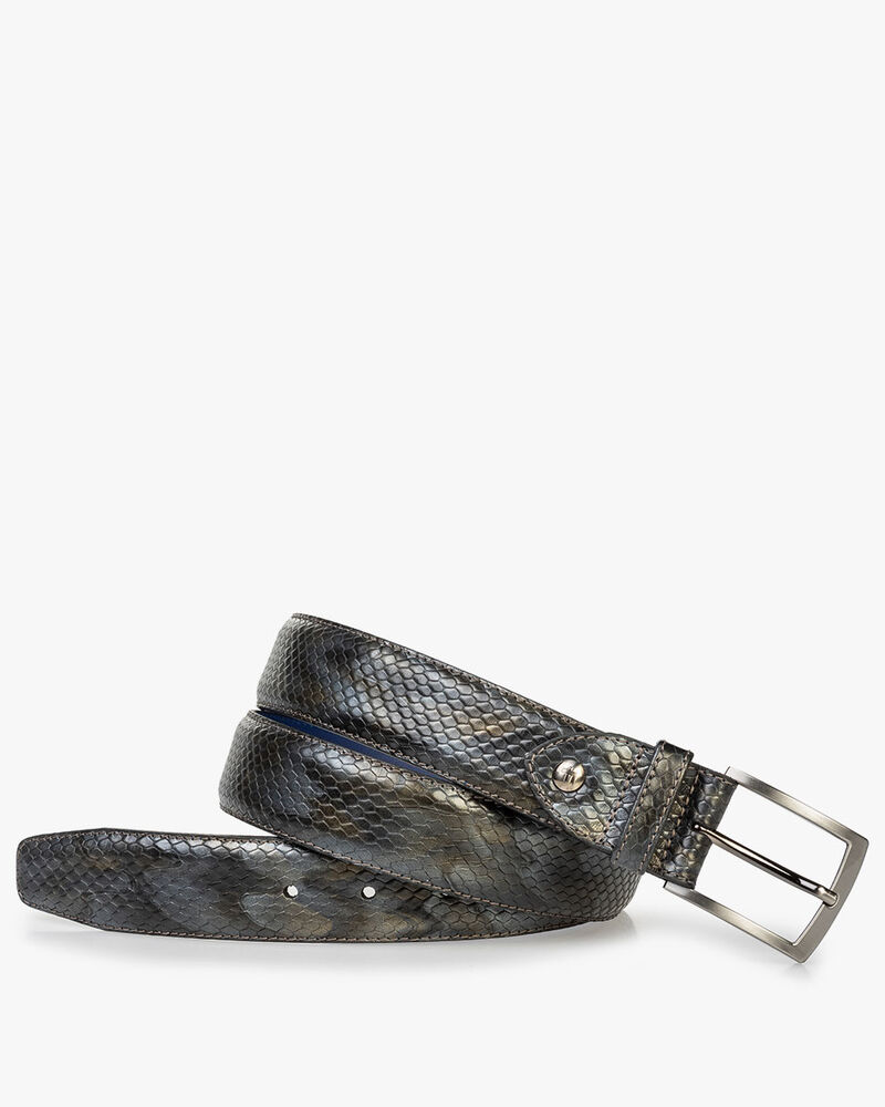Leather belt metallic grey