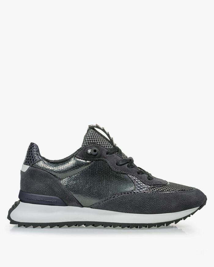 Sneaker geprint suède grijs