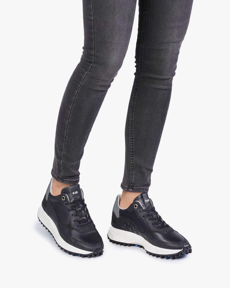 Black leather sneaker with print