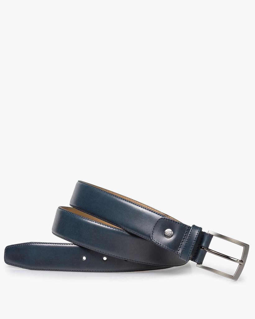 Blue calf leather belt