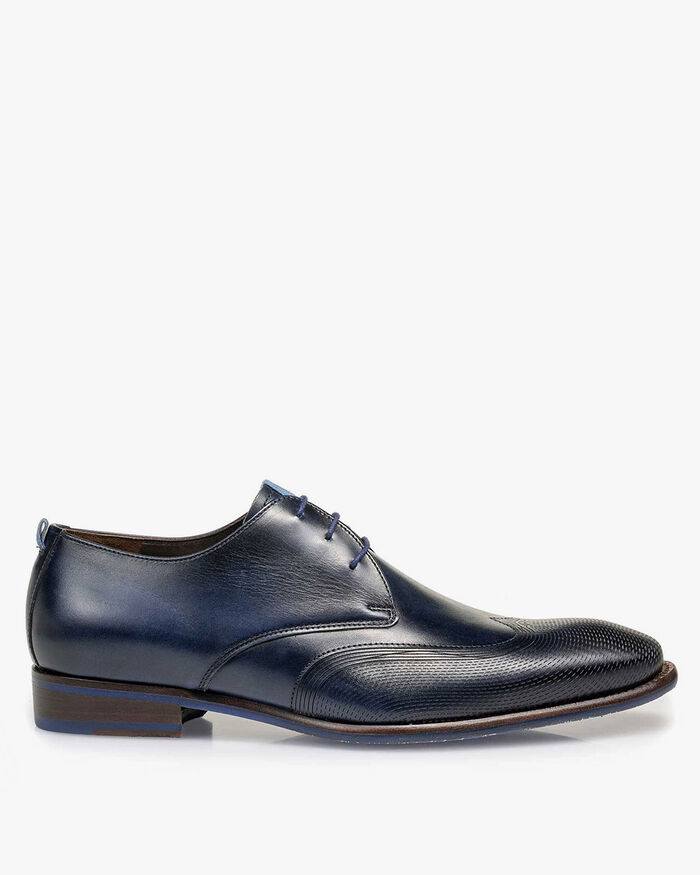 Lace shoe calf leather dark blue