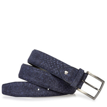 Suede leather belt blue with print