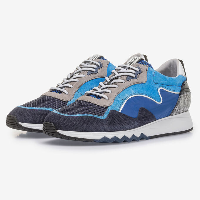 Bright blue suede leather sneaker