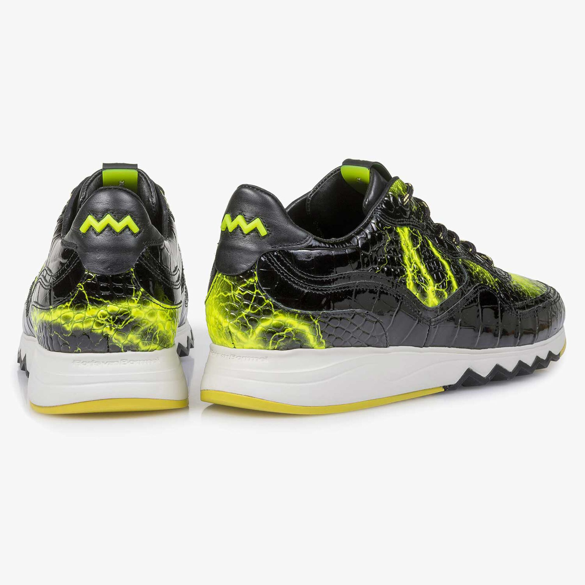 Zwarte lakleren sneaker met gele print