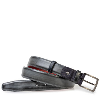 Belt calf leather grey
