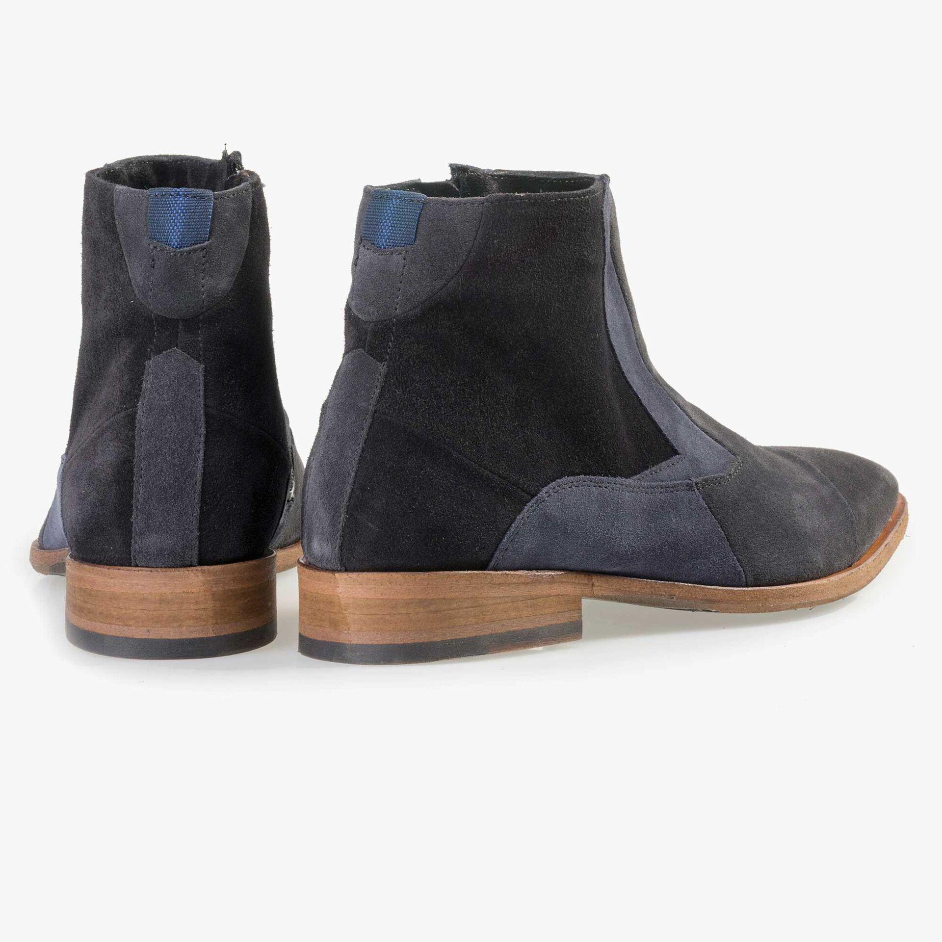 Floris van Bommel men's blue suede leather patchwork Chelsea boot