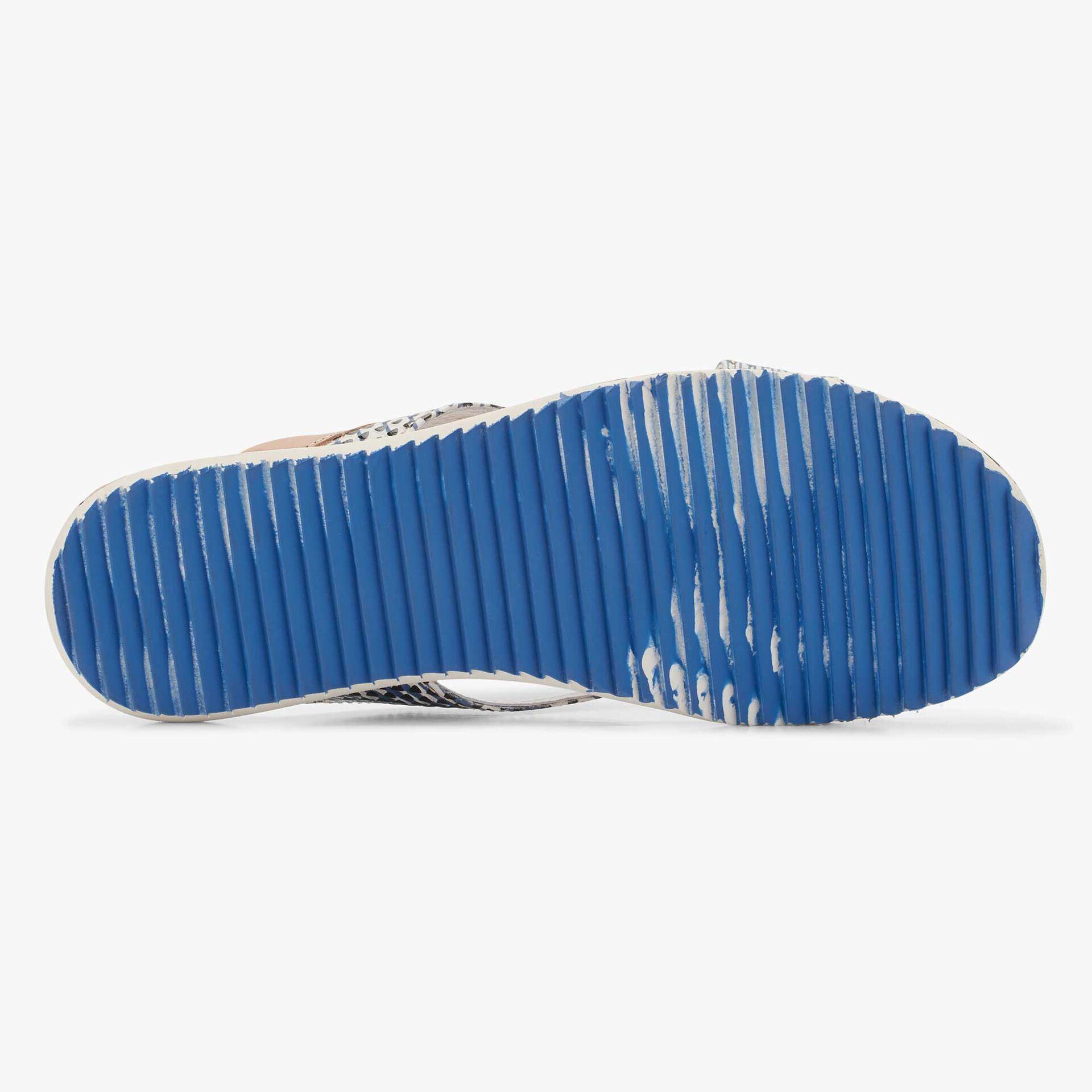Floris van Bommel blauwwitte leren heren slipper