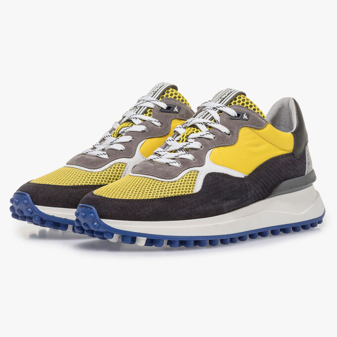 Multi-colour suede leather sneaker with yellow details