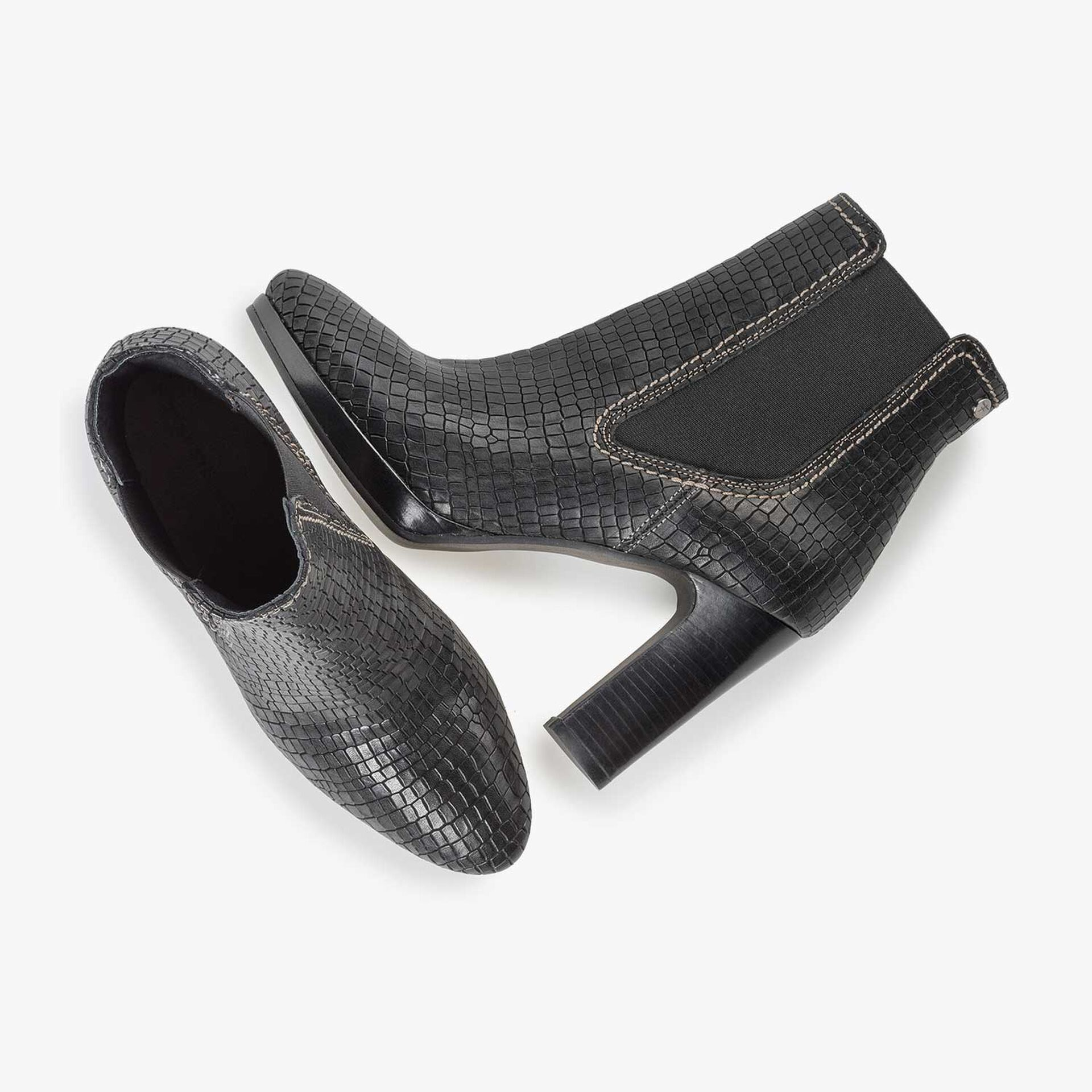 Zwarte chelseaboot met crocoprint