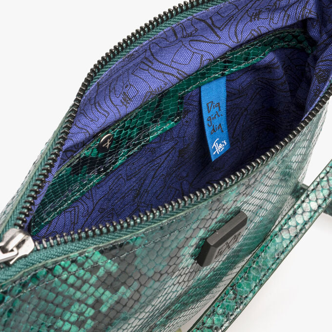 Groene leren crossbody tas met snakeprint