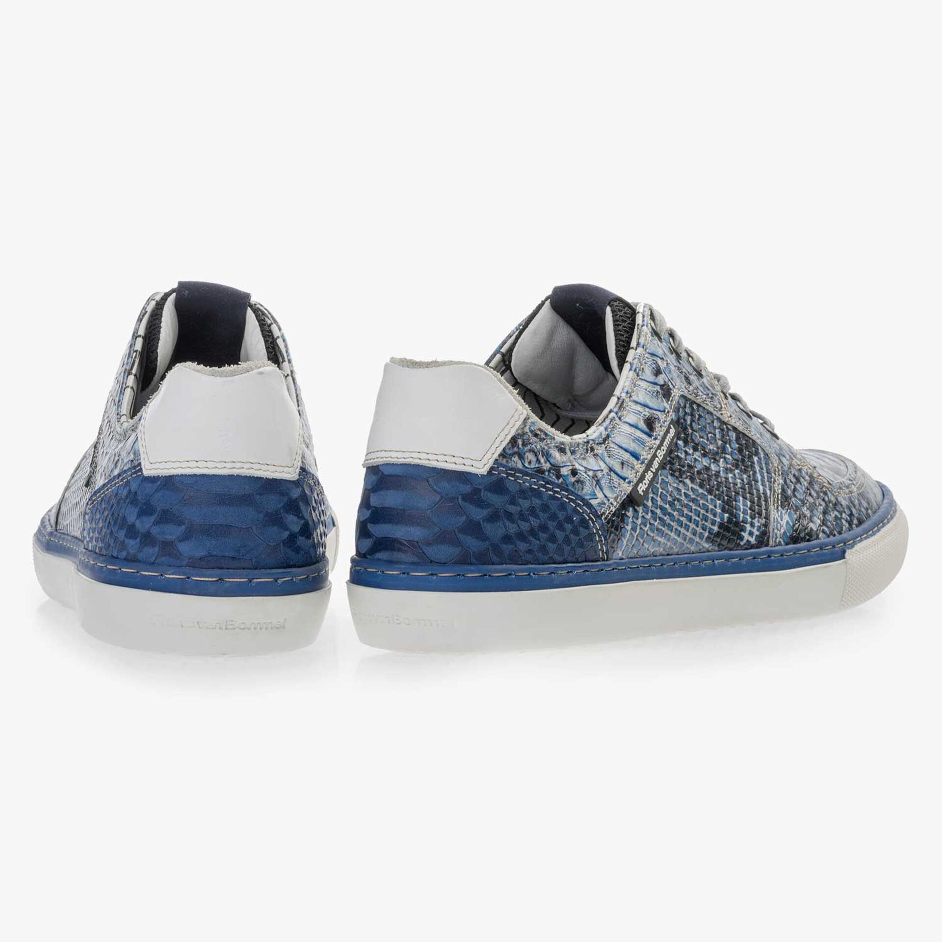 Blue leather lace shoe with a snake print
