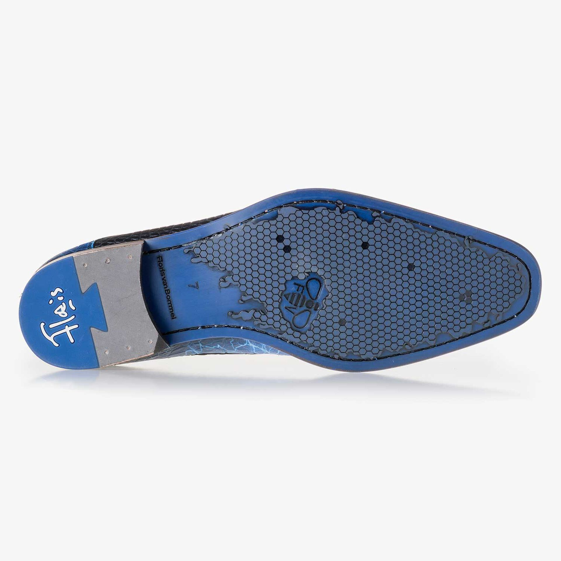 Premium blauwe veterschoen van leer met print