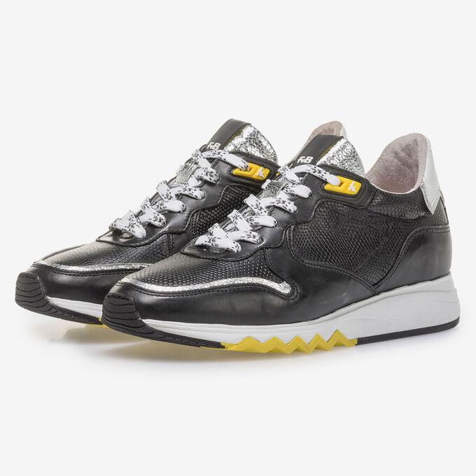 Zwarte kalfsleren sneaker met gele details