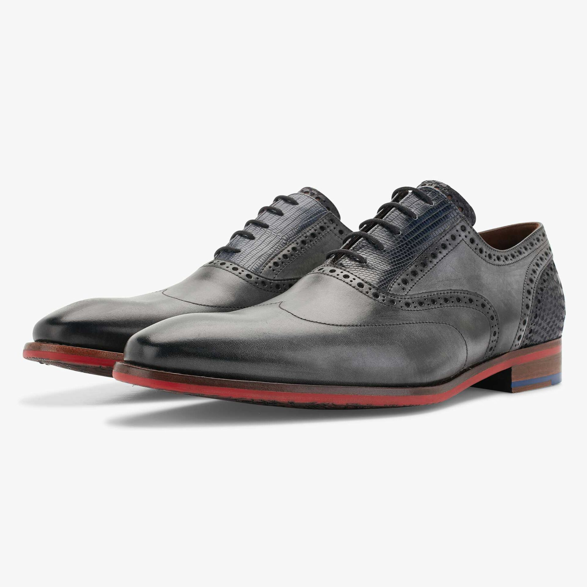 Floris van Bommel grey men's leather lace shoe