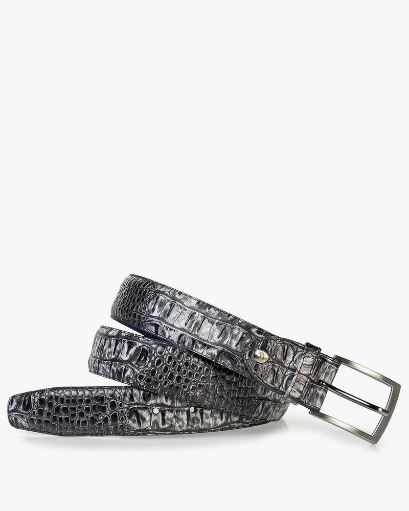 Leren riem crocoprint grijs