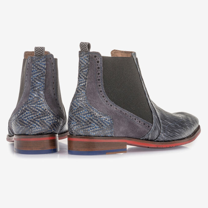 Grey and blue leather Chelsea boot with print