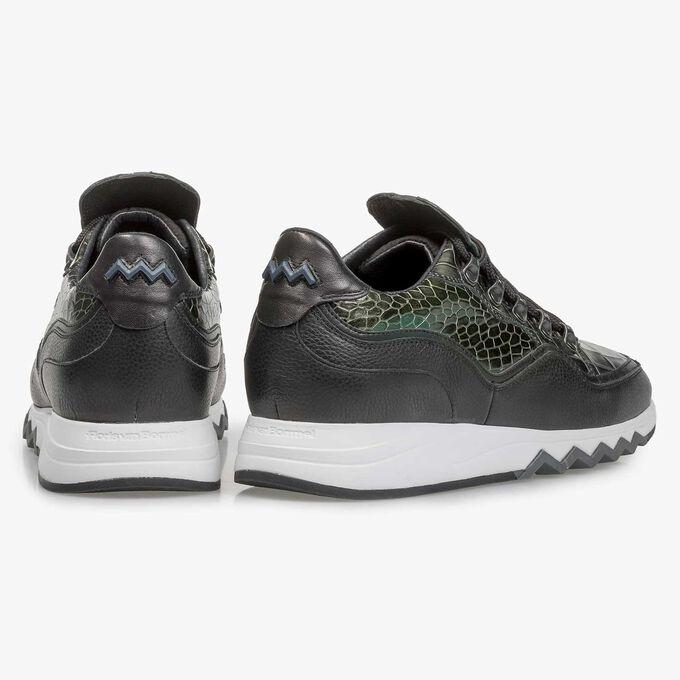 Premium groene metallic leren sneaker met print