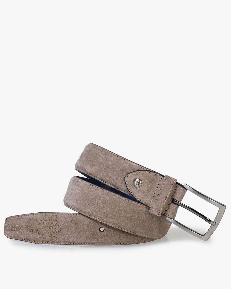 Beige suede leather belt