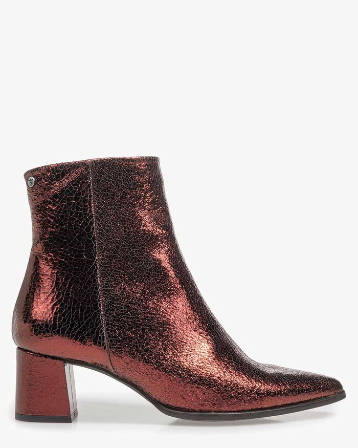 Burgundy red leather ankle boots