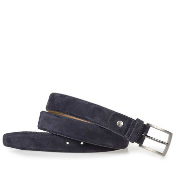 Dark blue suede leather belt