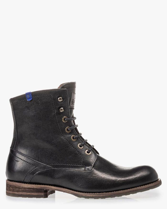 Lambskin lined black lace boot