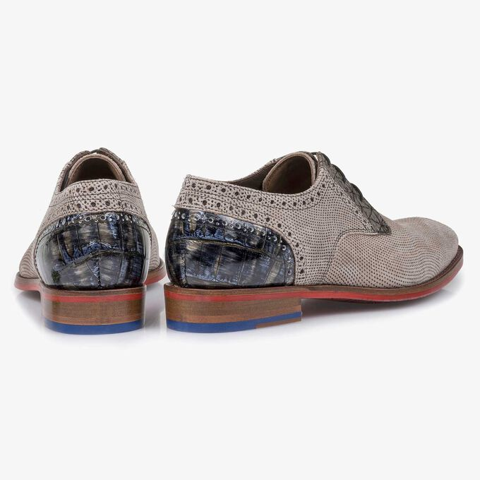 Taupe-coloured printed suede leather lace shoe
