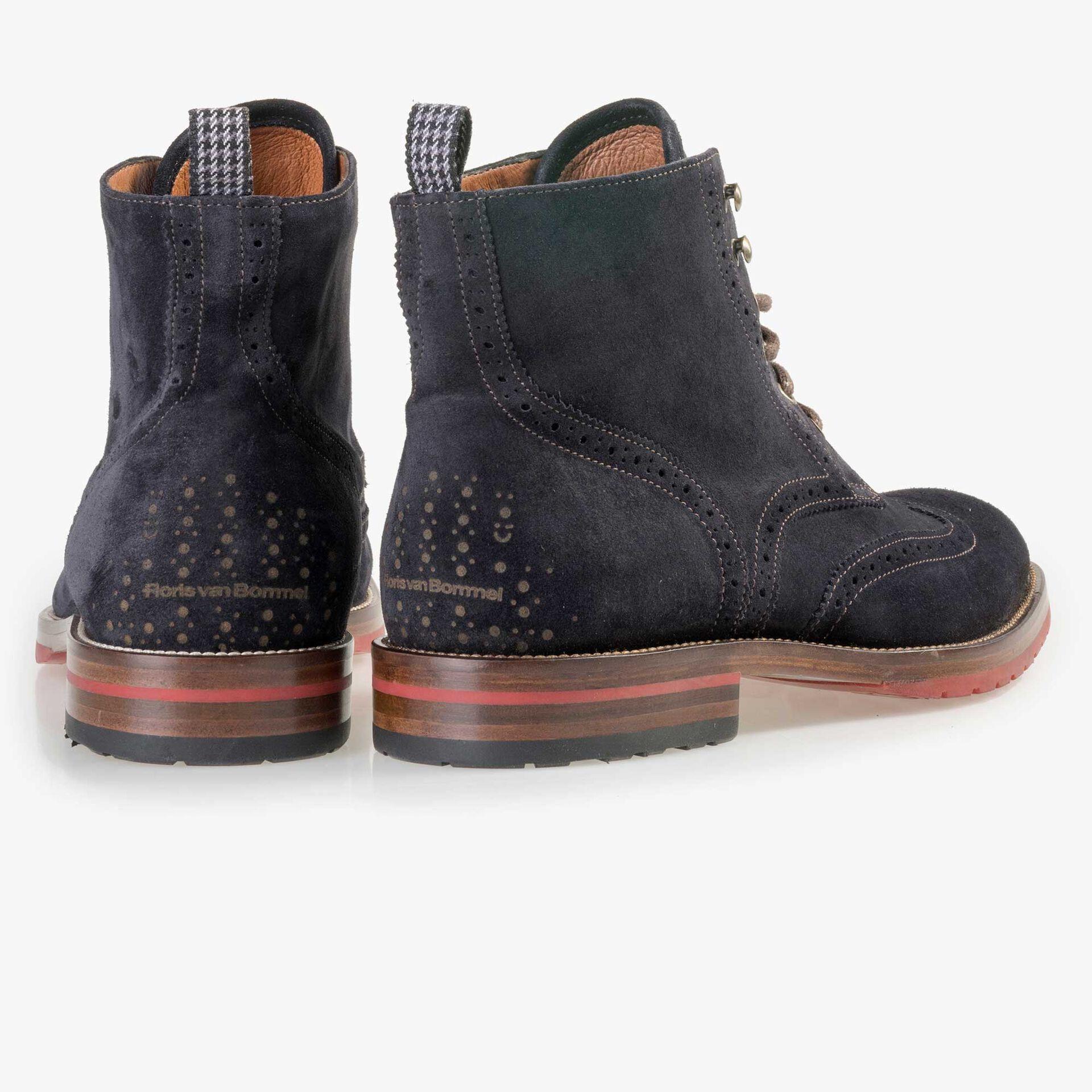 Floris van Bommel men's dark blue suede leather brogue lace boot