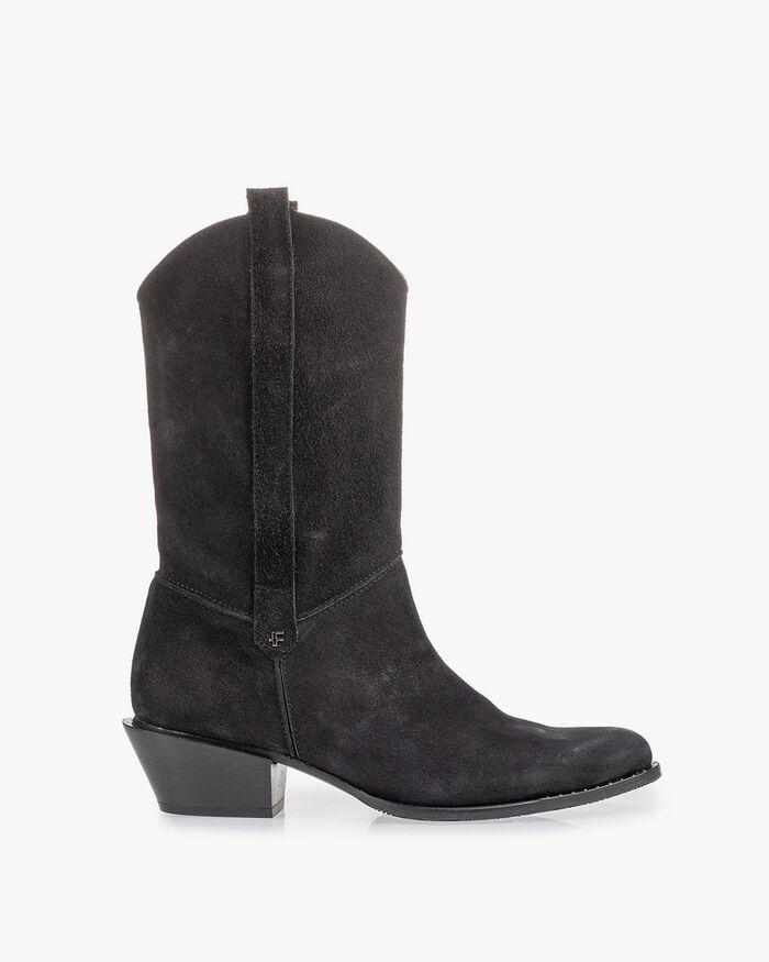 Western boot zwart suède