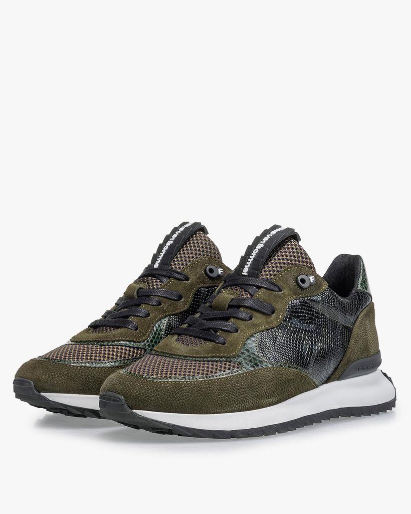 Sneaker geprint suède groen