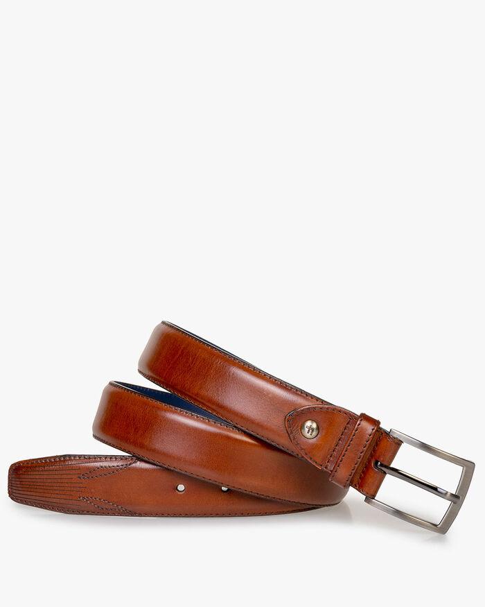 Belt calf leather cognac