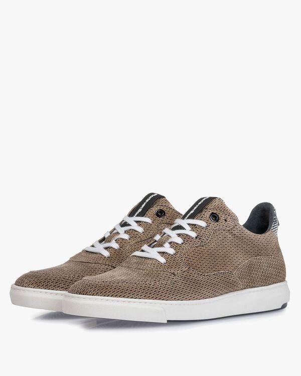 Sneaker geprint suède zand