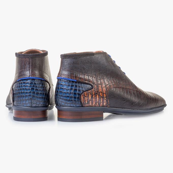 Kalfsleren veterschoen cognac met lizardprint