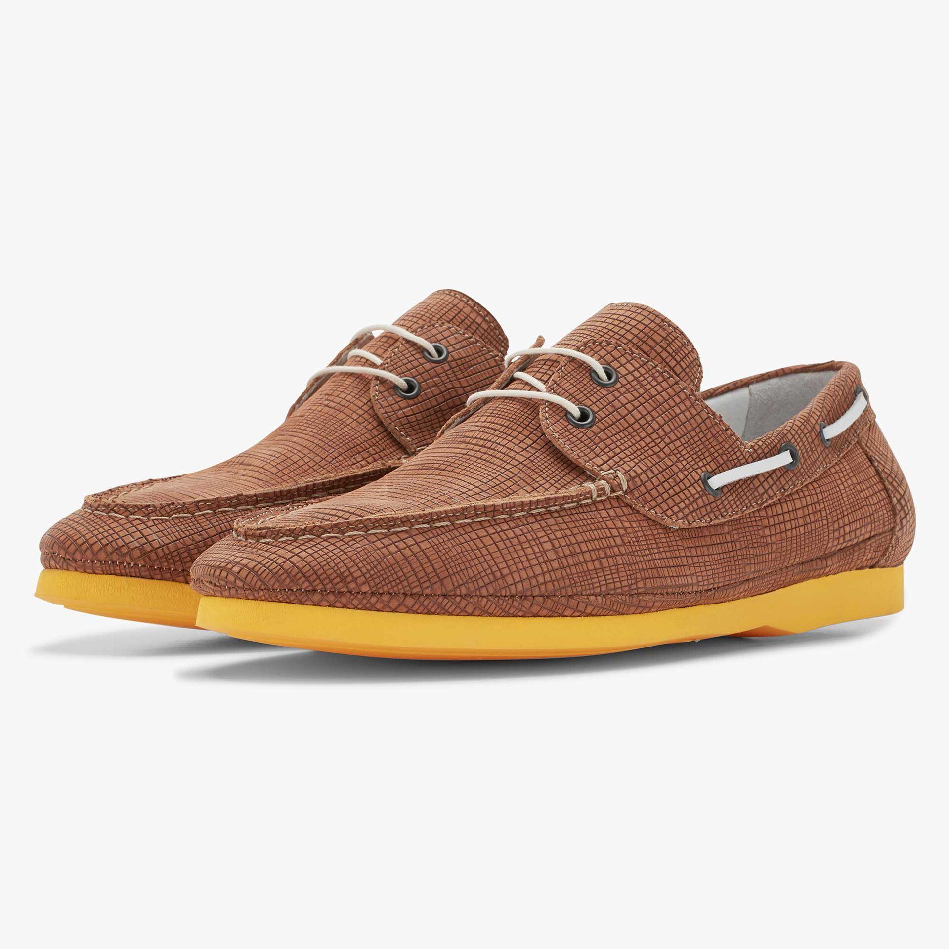 Floris van Bommel cognac-coloured nubuck leather boat shoe