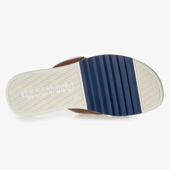 Cognac-coloured printed leather slipper